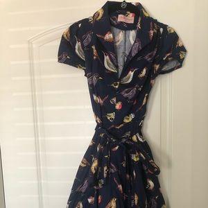 Vintage Hummingbird Style 1950s Dress